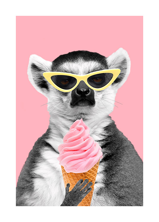 Lemur With Ice Cream Poster / Kids wall art at Desenio AB (12477)