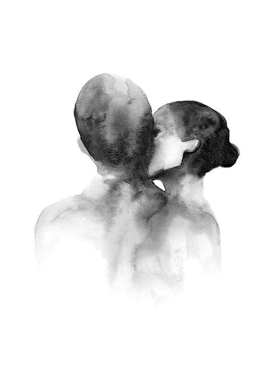– Black and white watercolour illustration of a woman kissing a man on the cheek