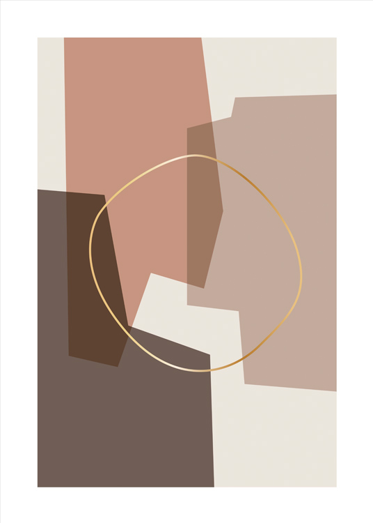 – Graphic illustration of a golden circle on top of abstract shapes in beige and light red
