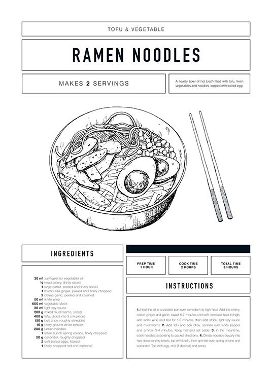 Ramen Recipe Poster / Text posters at Desenio AB (12670)