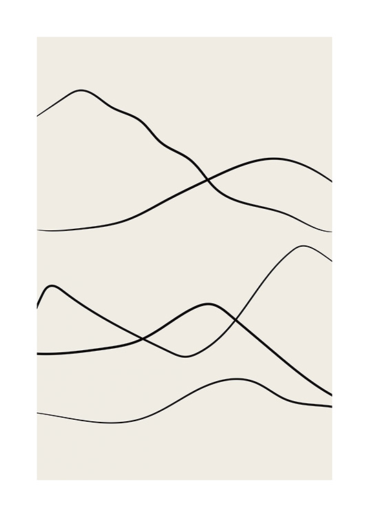 Hand-drawn contours of mountains drawn with line art