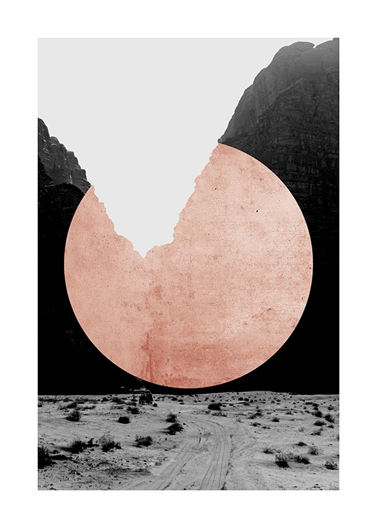 Black and white nature design of cliffs and desert with a pink circle in the middle