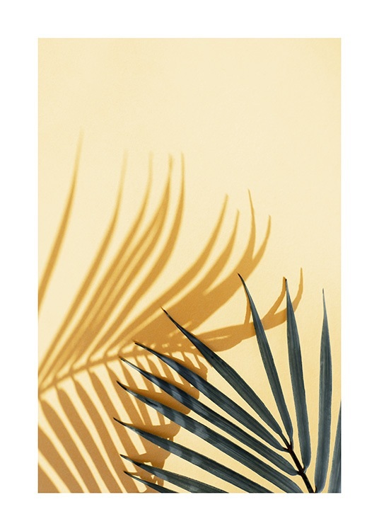 Green palm leaf casting a shadow on a yellow wall