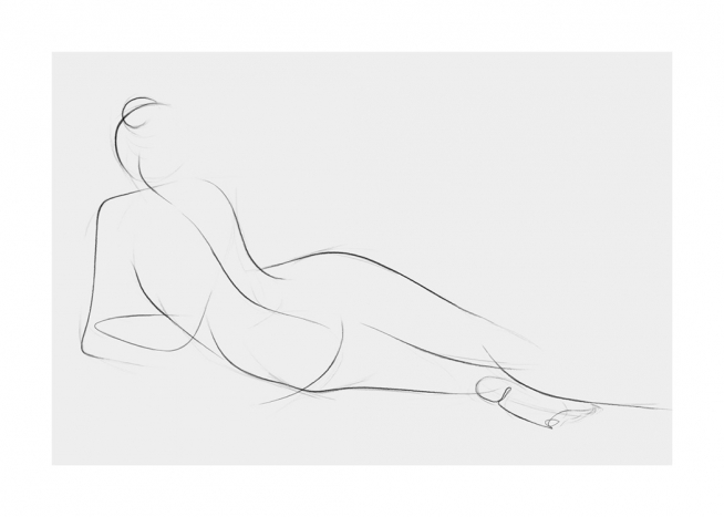 Hand-drawn illustration depicting a woman lying on her side, with a grey background