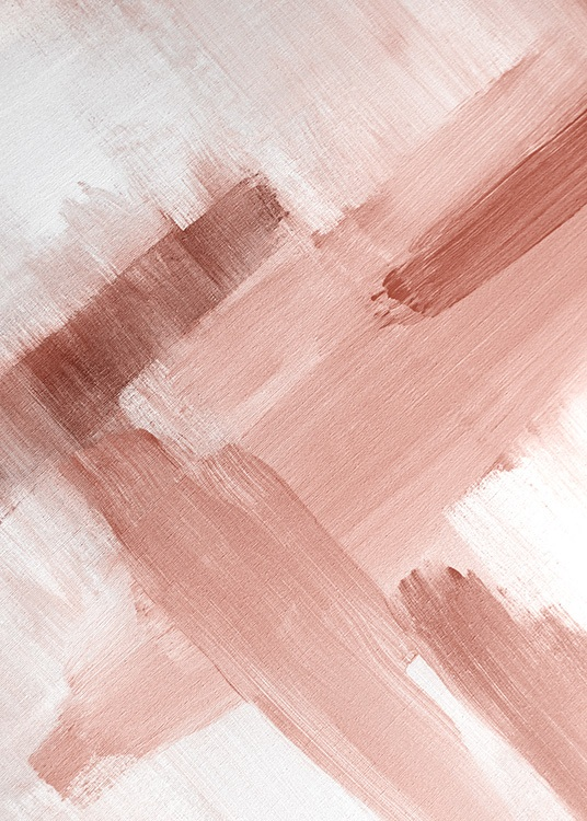 Abstract painting in pink and white with canvas structure and brush strokes