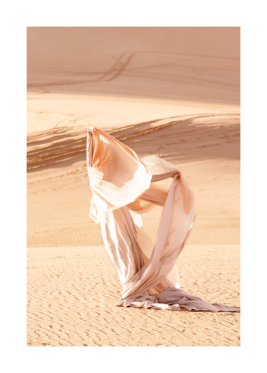 – Nature photograph with woman wearing a flowy light dress in the desert