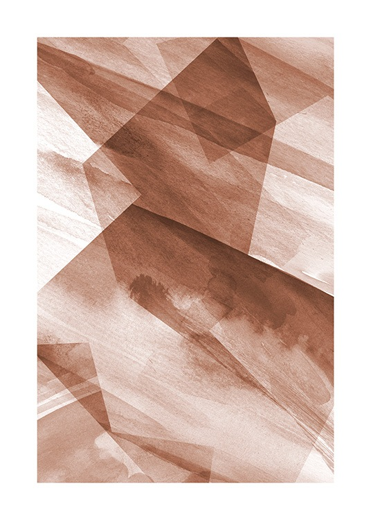 Abstract art print with graphically illustrated shapes in terracotta and white