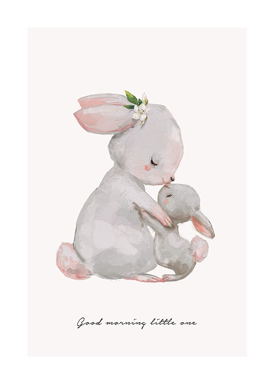 Illustrated kids print with mother bunny kissing baby bunny good morning