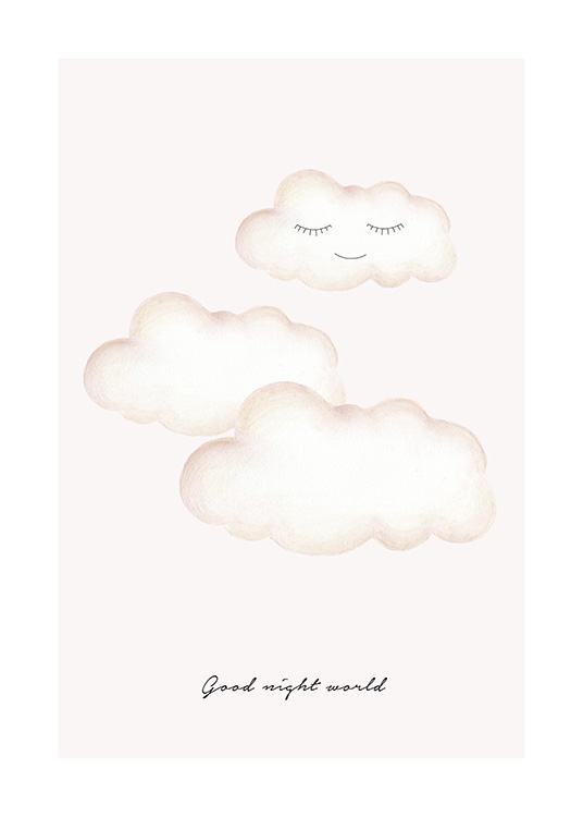 Kids print with illustrated clouds with closed eyes and text underneath
