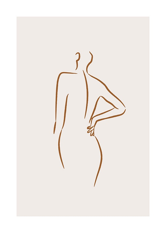 Illustrated body in bold line art on beige background