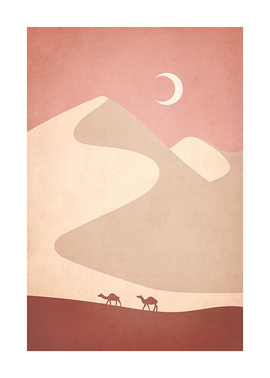 Illustration of graphical desert with camels in front and moon in the background