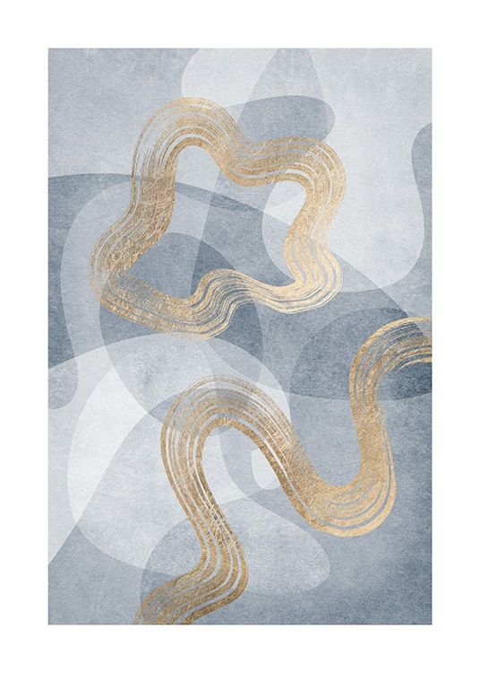 Abstract illustration with graphical shapes in gold and blue