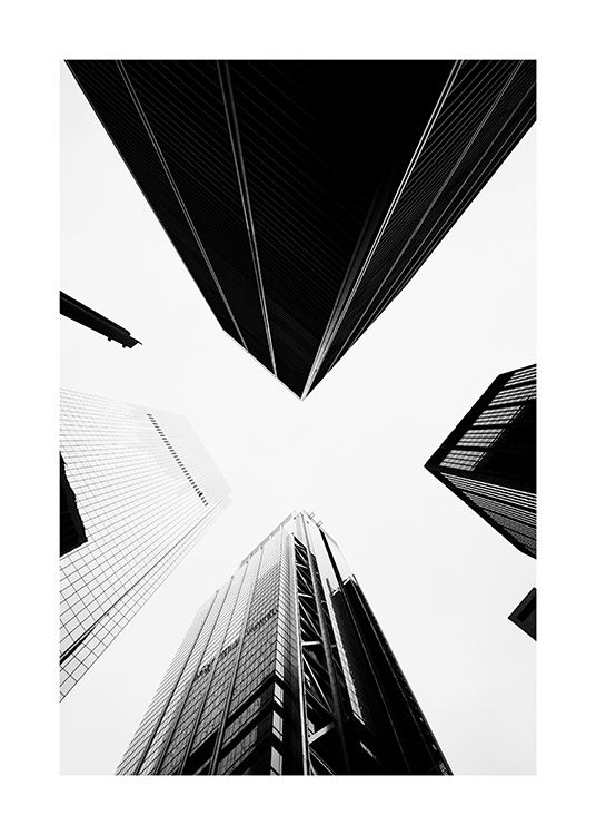 - Black and white photographs of buildings in New York creating an abstract pattern