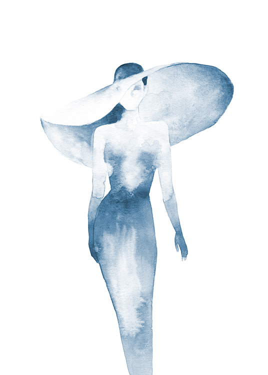 - Blue watercolour painting of woman wearing a large hat and a tight dress on a white background