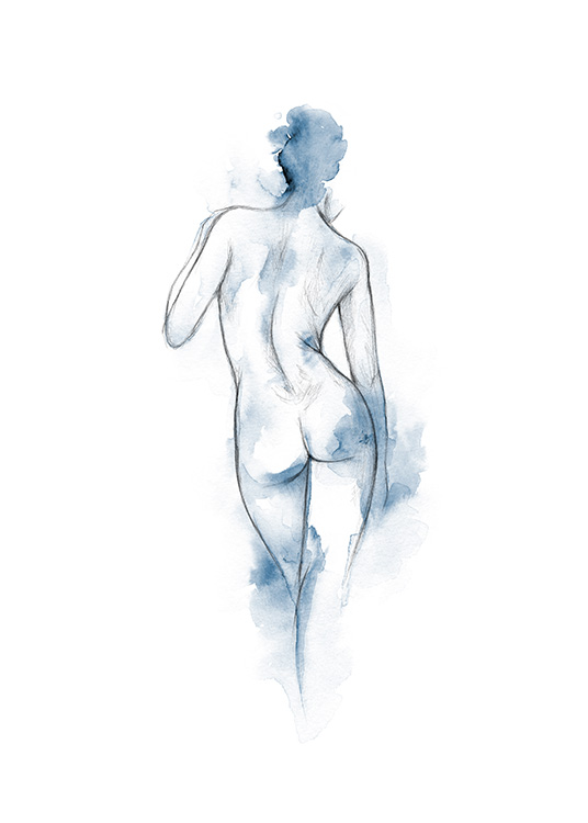 - Sketch of naked woman on a white background, with blue watercolour splashes