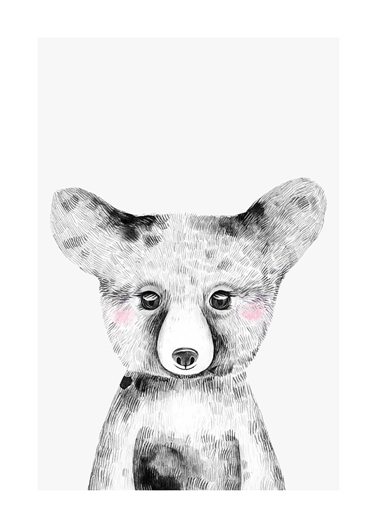 - Black and white illustration of a baby bear on a grey background