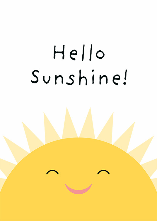 - Graphical illustration of Hello Sunshine written above a smiling sun
