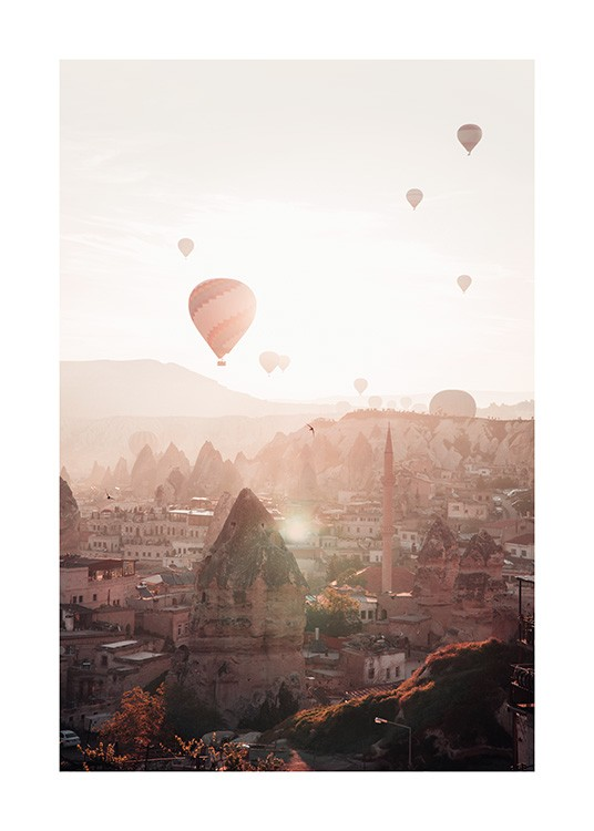 – Photograph with air balloons and sunset over the city of Cappadocia, Turkey
