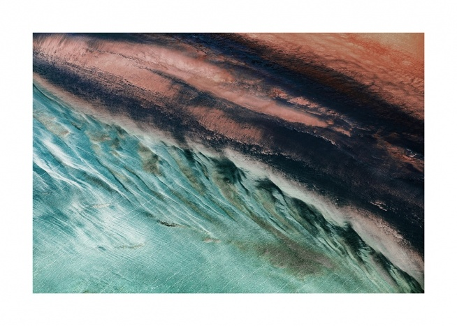 - Photograph of a coastline with abstract forms in different colours