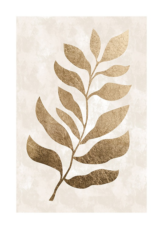 - Modern art print with a beige background with colour structure and a gold coloured leaf