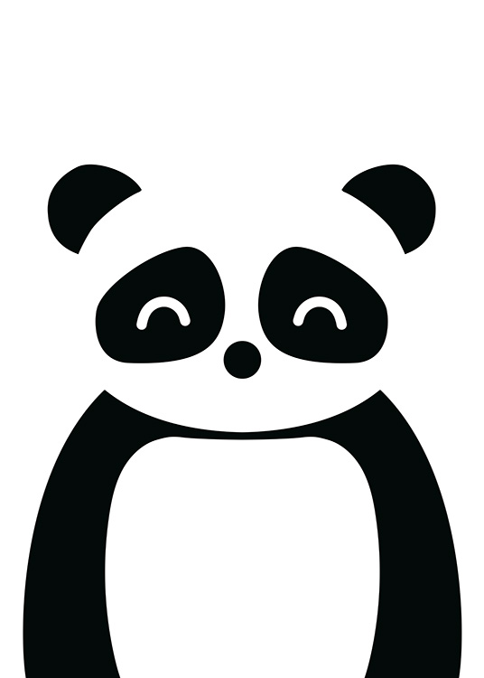 - Illustration with graphical design of a panda in black and white, formed by geometric shapes