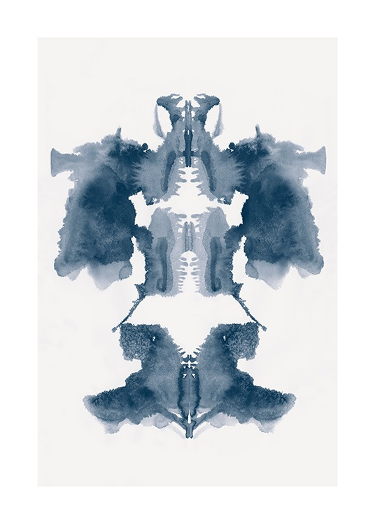 - Watercolour painting with a light background and a blue painted Rorschach symbol