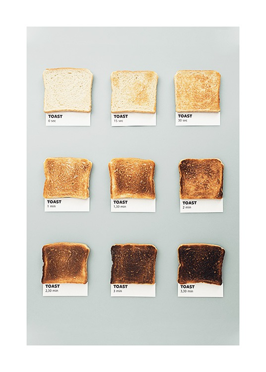 - Burned toasts lined up with notes underneath on a grey background