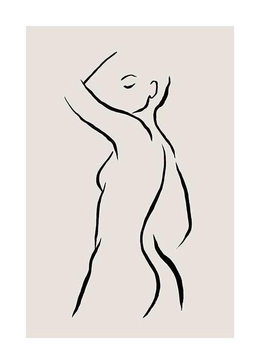 - Illustration with hand drawn naked woman in black on a beige background