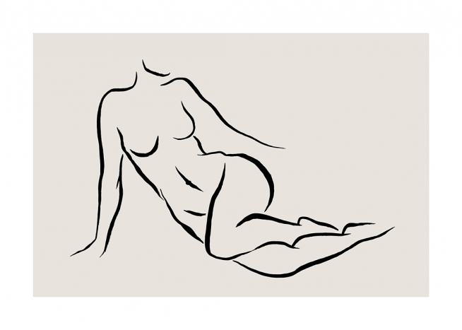 - Illustrated woman laying on her side, line art in black on a beige background