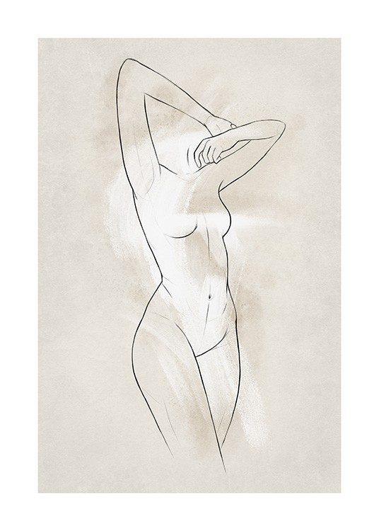 - Naked woman illustration in line art, with a beige and white background
