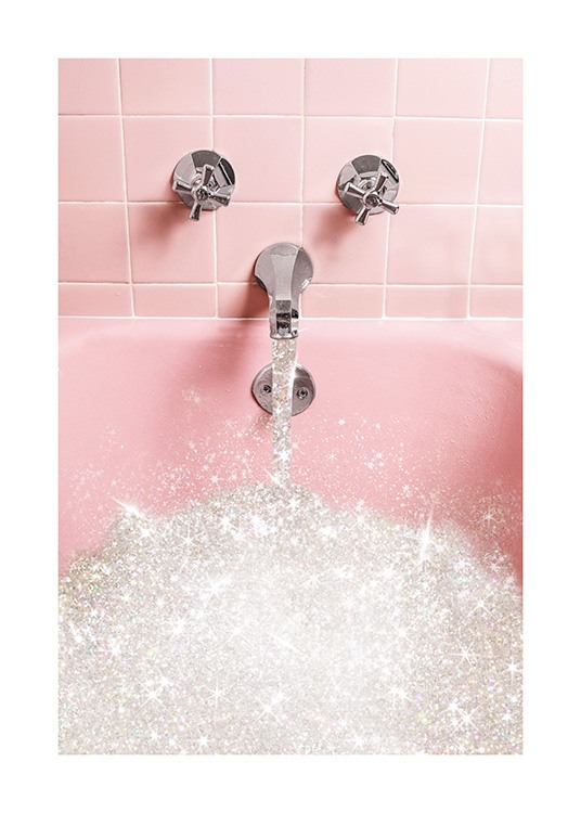 - Pink tiles behind a pink bathtub filled with glitter water
