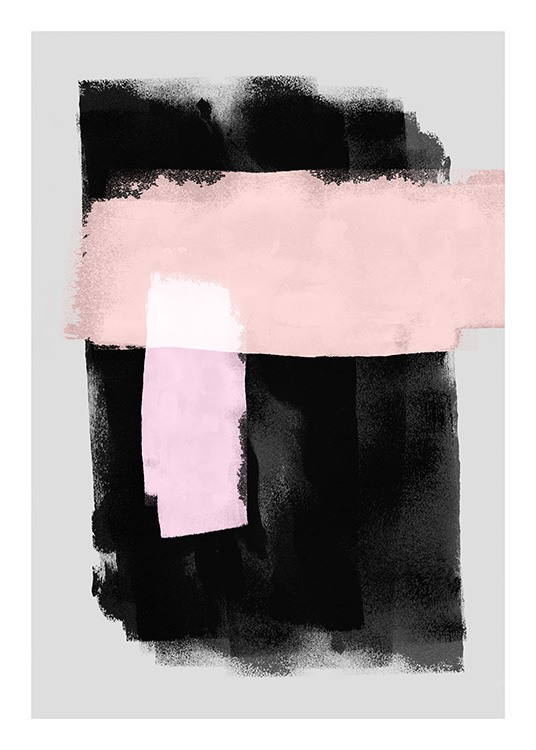 - Illustration of black and pink watercolour painted areas on a grey background