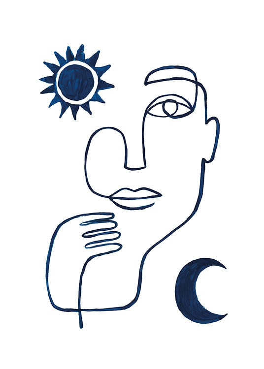 Abstract Face in Blue Poster / Minimalist Art at Desenio AB (13664)