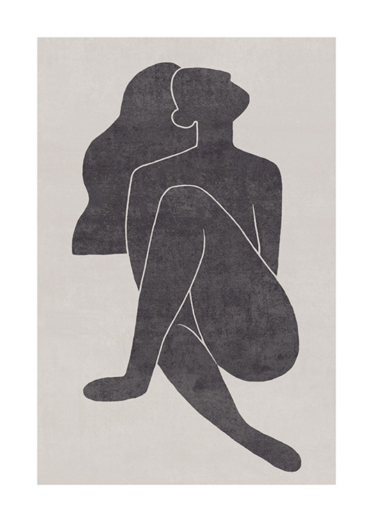 Seated Pose Black No1 Poster / Illustrations at Desenio AB (13801)