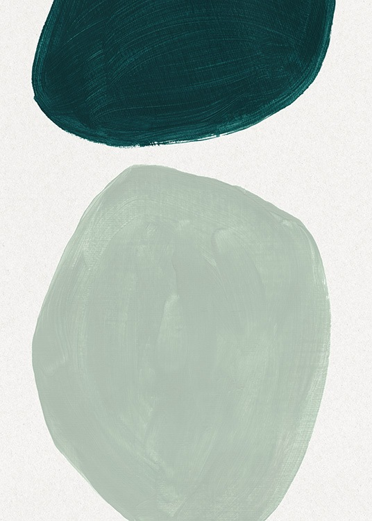 – Oil painting with two large, round shapes in mint green and dark green