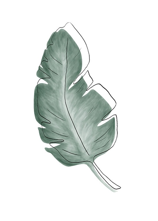 – Watercolour painting with a green leaf underneath a black sketch with the contours of a leaf