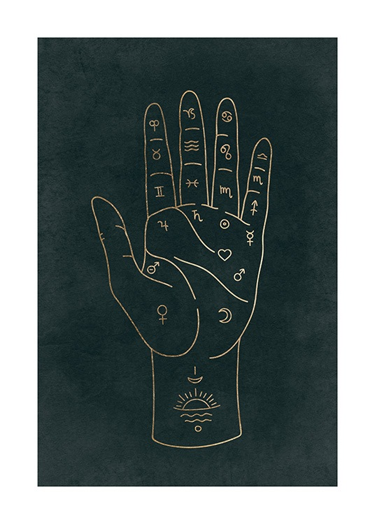– Graphical illustration with astronomical signs on the inside of a hand