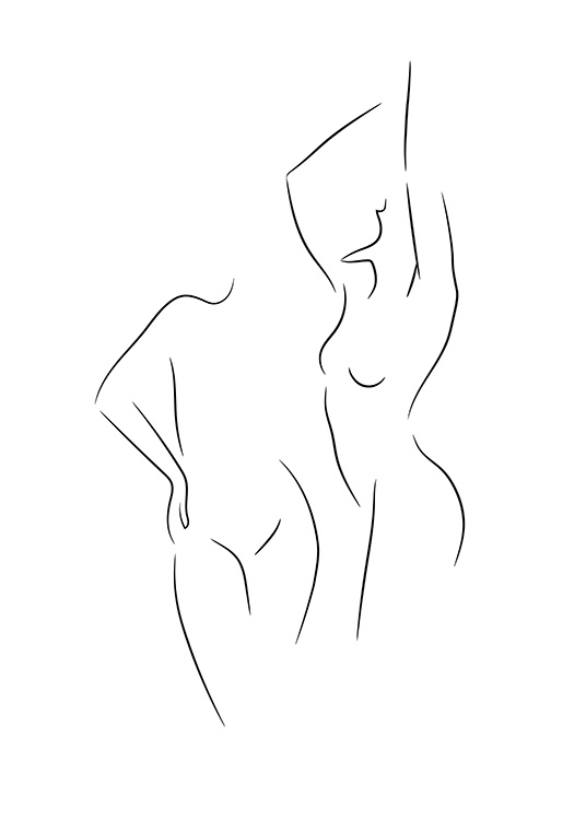 – Black and white line art drawing with two naked women
