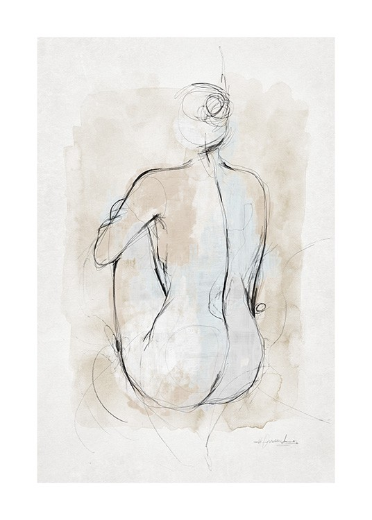 – Watercolour painting with a sketch of a body against a beige and grey background