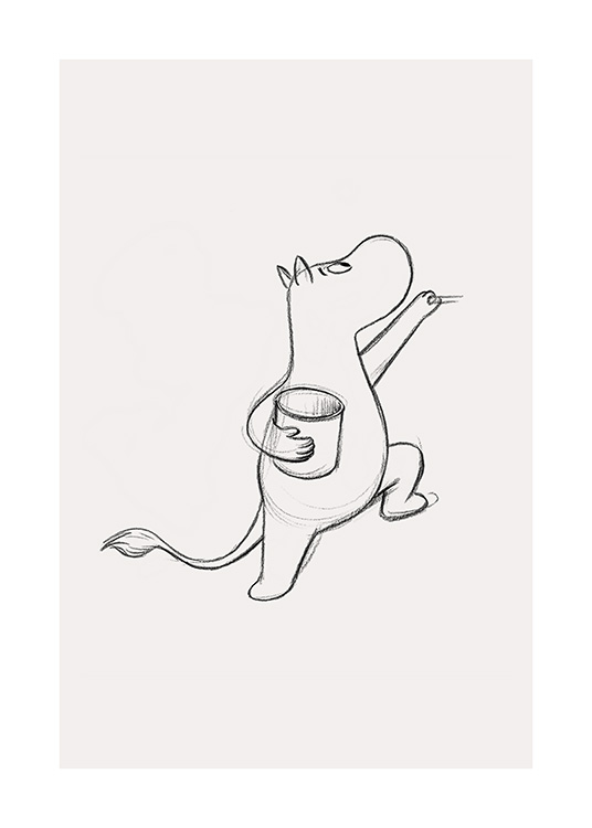 – Graphite sketch of the Moomintroll from Moominvalley holding a jar, drawn on a light beige background