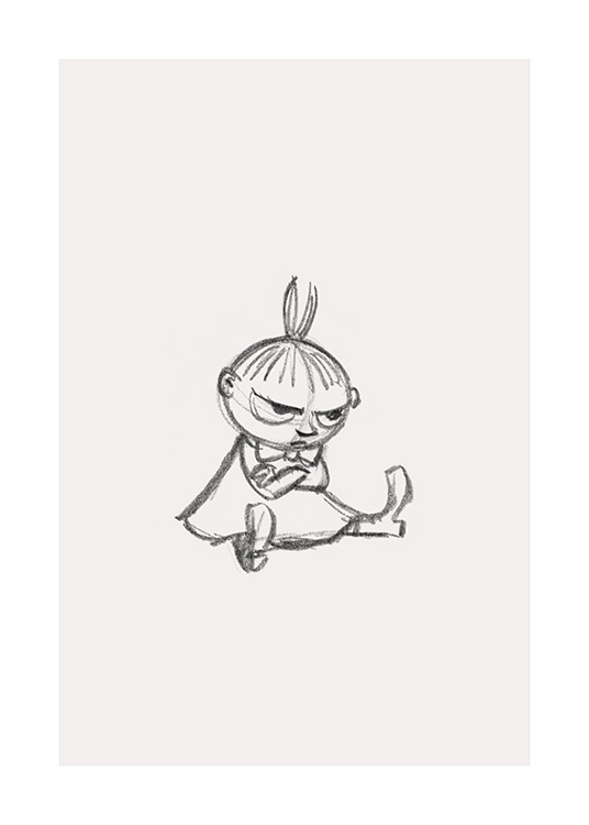 – Graphite sketch of the Moominvalley character Little My who's sitting with her arms crossed