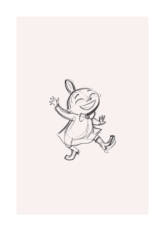 – Sketch in graphite of Little My from Moominvalley, dancing and smiling
