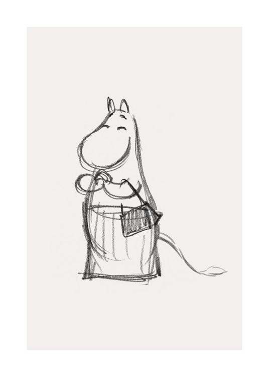 – Graphite sketch of a smiling Moominmamma from Moominvalley, drawn on a light beige background