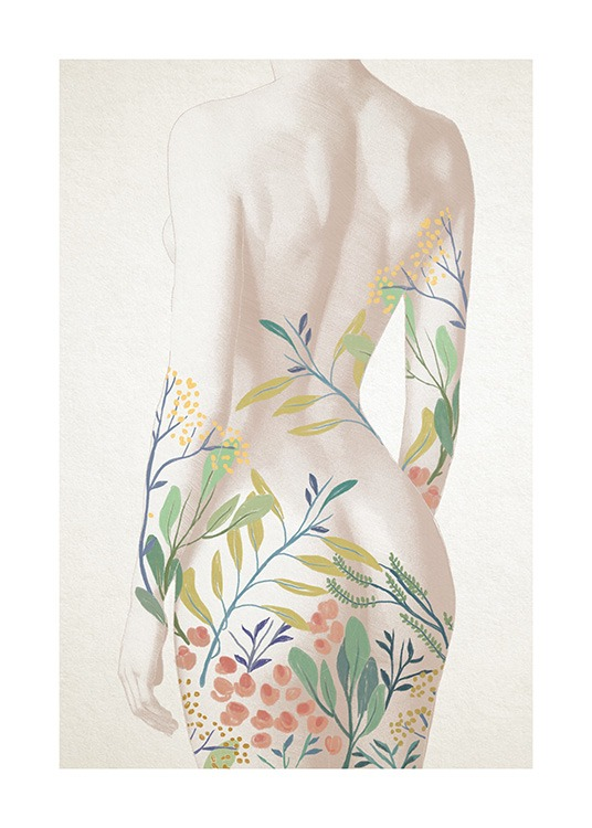 – Illustration of a naked woman with painted flowers and leaves in colour on her backside