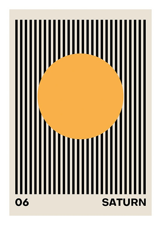 – Graphic illustration with black stripes on a beige background and an orange circle in the middle