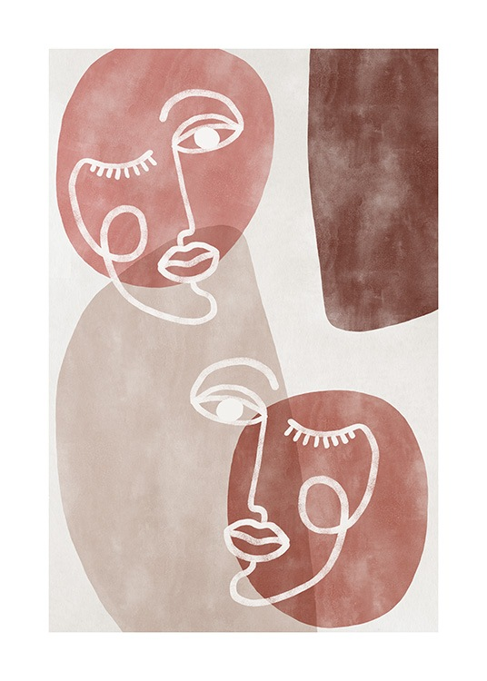 - Illustration with abstract shapes and faces in white, beige and shades of pink
