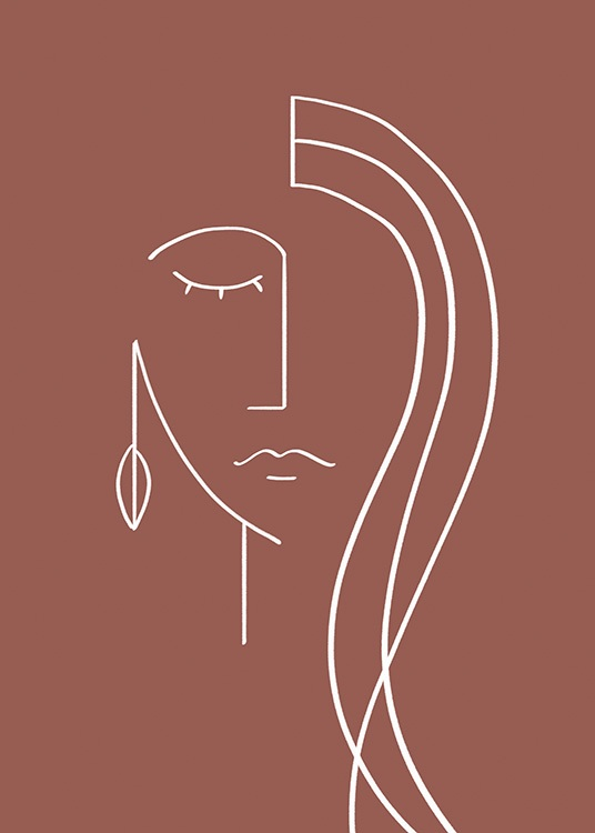 - Abstract illustration with a face painted with white lines on a dark red background