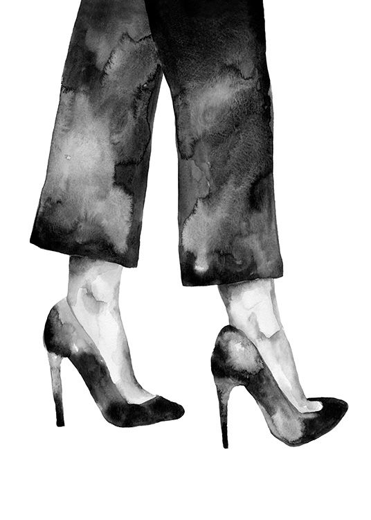 - Black and white watercolour painting of a woman in heels and a pair of trousers