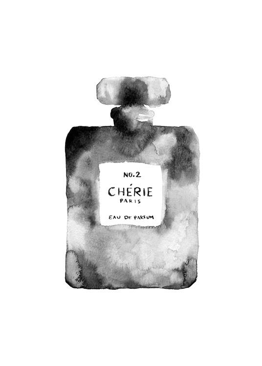 - Black and white watercolour painting of a perfume bottle