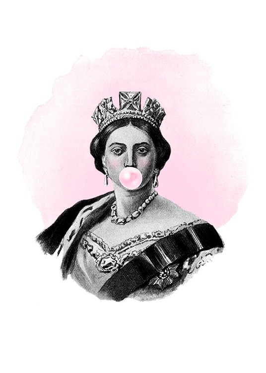 - Illustration in black and white of a queen on a pink background blowing a pink bubblegum